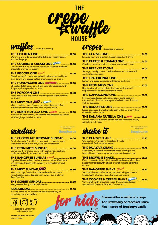 The Crepe & Waffle House menu