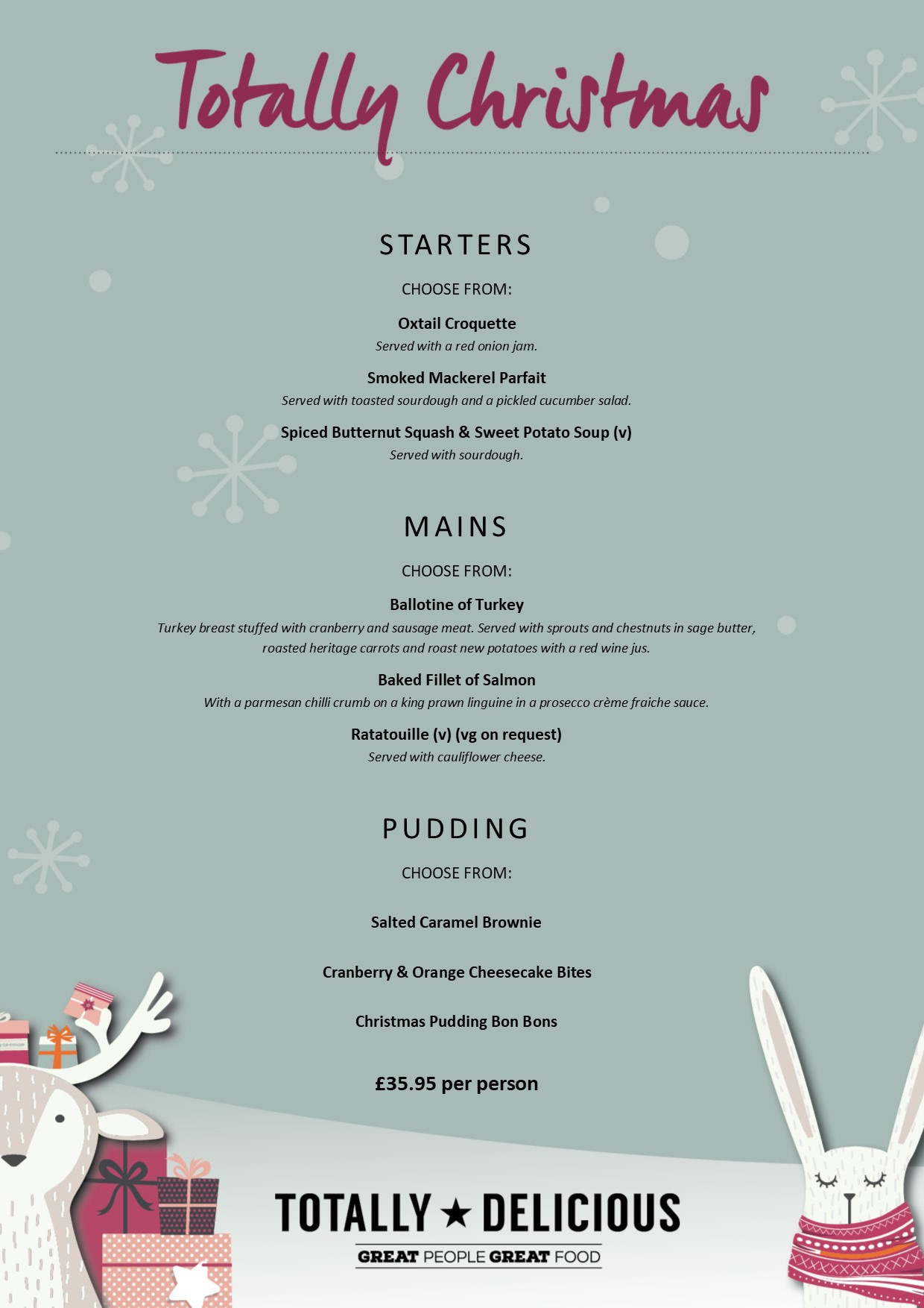 Totally Christmas - 3-course menu